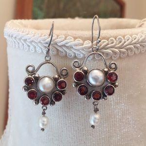 Jewelry - Garnet & Pearl Earrings